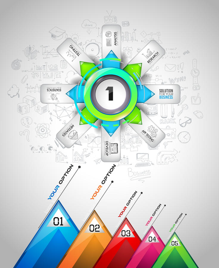 Infographmalplaatje met veelvoudige keuzen en heel wat infographic ontwerpelementen royalty-vrije illustratie