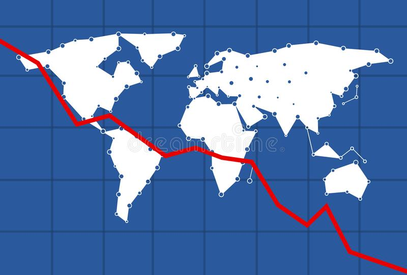 Infographmodel voor de economie met een rode aanwijzingslijn die onderaan oorzaak van een negatieve economie gaan stock foto's