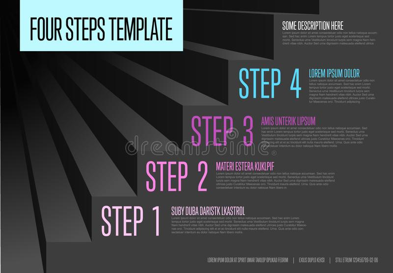 Infogrpahic steps diagram template. Vecotr Infogrpahic steps diagram template for workflow, business schema or procedure diagram - dark version stock illustration