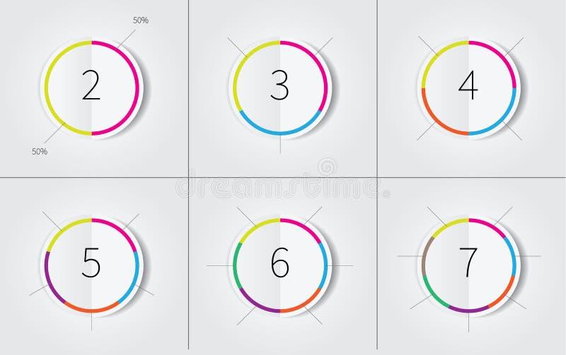 Infogrpahics cirkeluppsättning med färggränsen vektor illustrationer