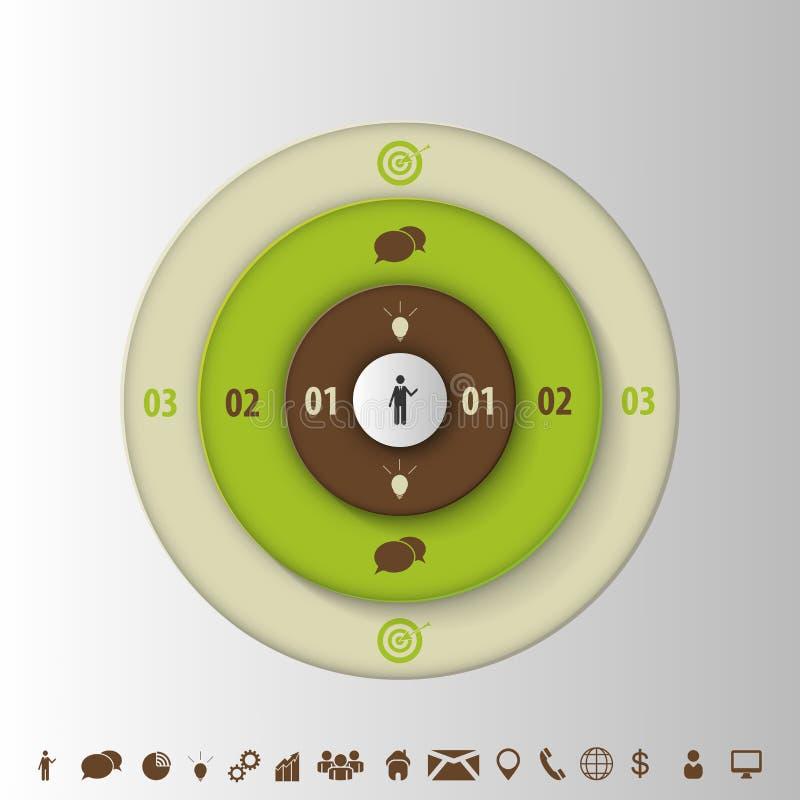 Infogrphic-Designschablone Ziel mit Ikonen Vektor lizenzfreie abbildung