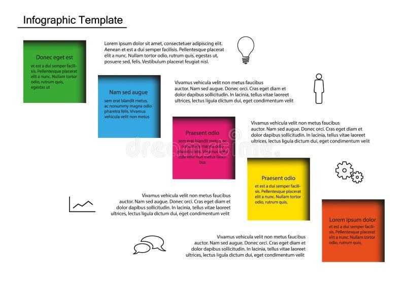 Infogrphic Wektorowy szablon z Pięć kolorów kwadratami z tekstem i ikonami ilustracji