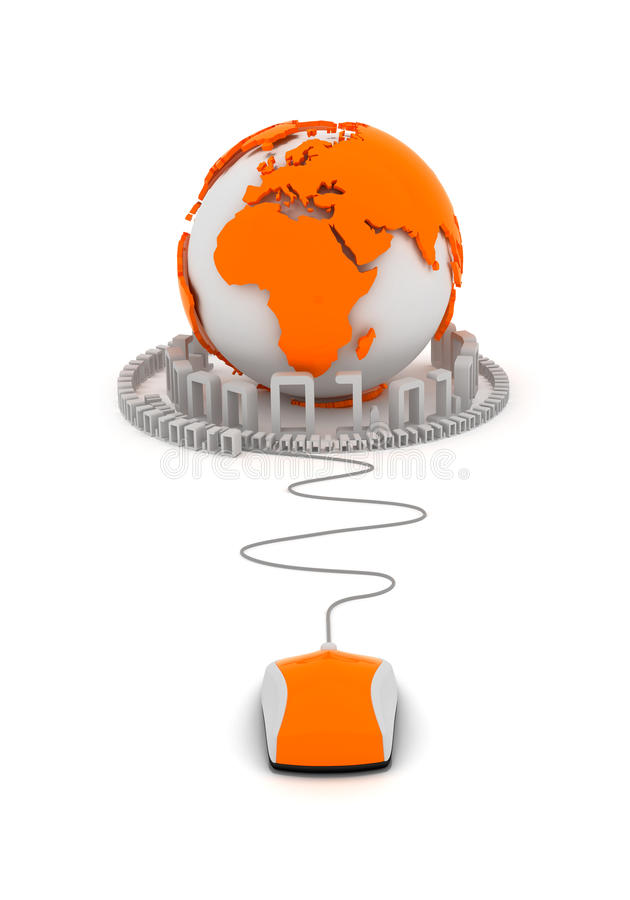 Infomation technology - concept illustration. Globe and computer mouse royalty free illustration