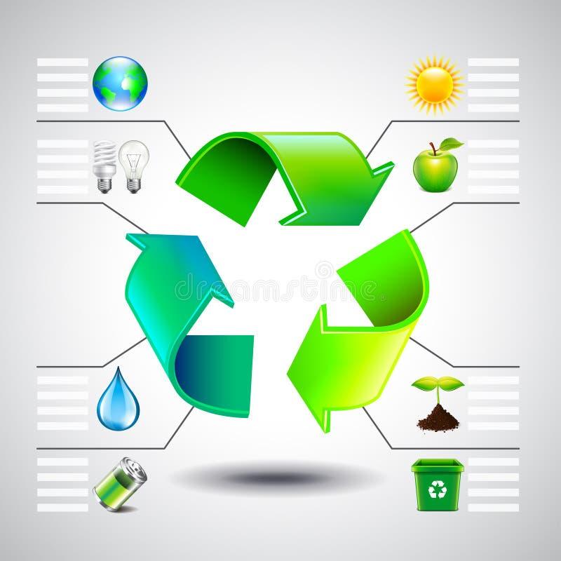 Inforgaphics del ambiente El verde recicla iconos del símbolo y de la ecología ilustración del vector