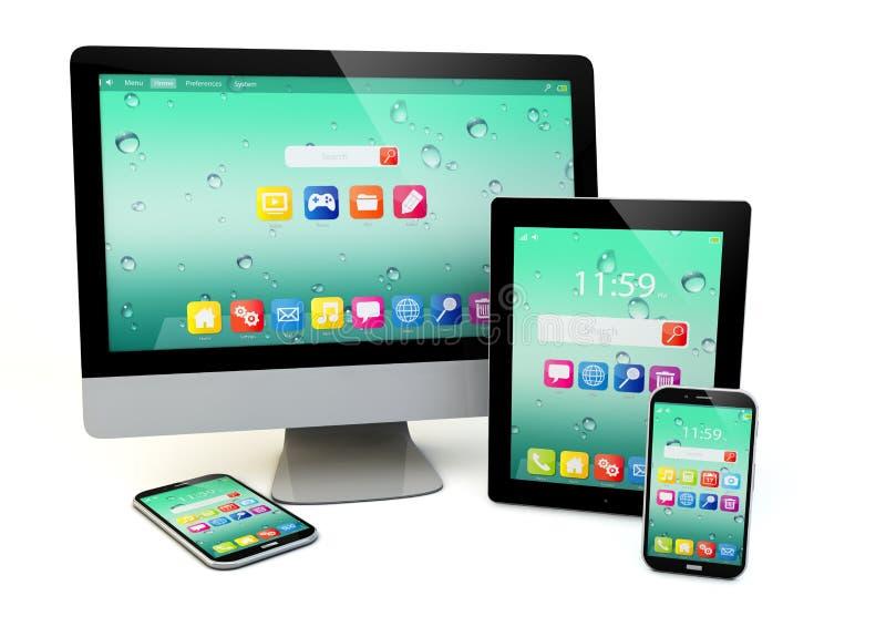 Informática, movilidad y concepto del negocio de la comunicación libre illustration