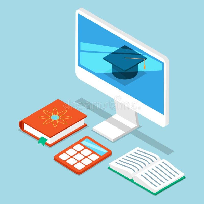 Informático de la educación del uno mismo, ejemplo del vector del análisis de negocio 3D isom?trico Los ordenadores supervisan co libre illustration