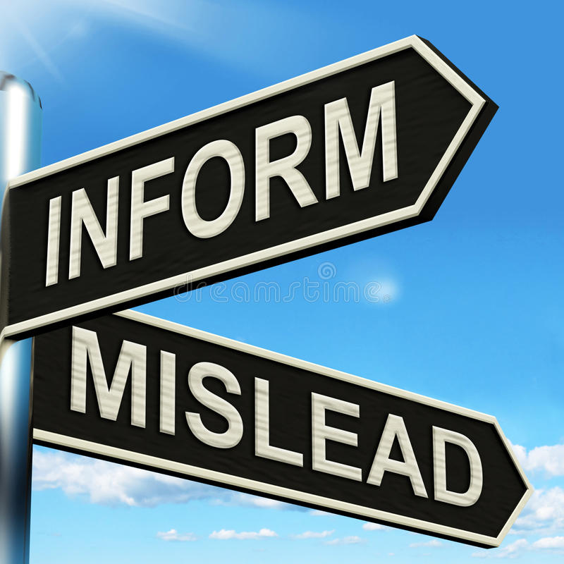 Inform Mislead Signpost Means Let Know Or Misguide vector illustration