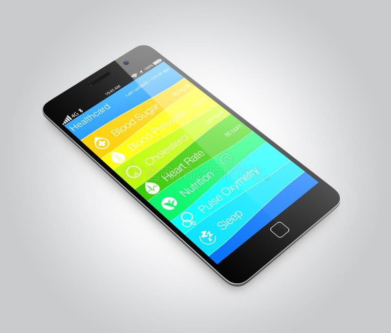 Informação app da saúde e da aptidão para o telefone esperto ilustração do vetor