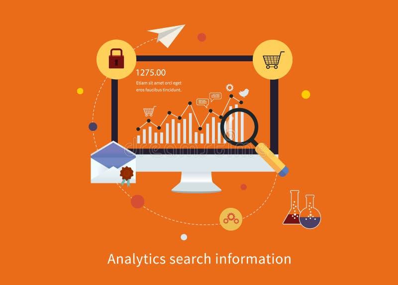 Informação da busca, e Web site SEO ilustração do vetor