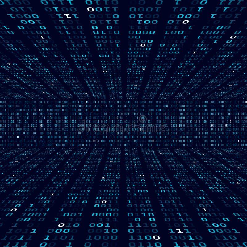 Informação da criptografia Código binário no fundo azul Números binários aleatórios Conceito grande do sumário do algoritmo dos d ilustração stock