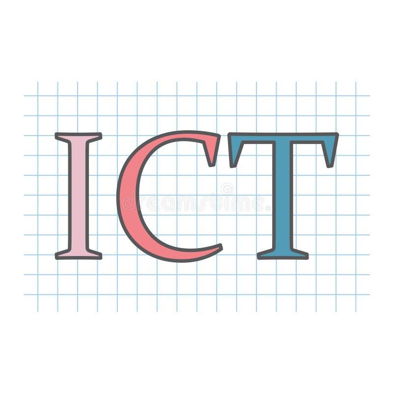 Informação da TIC e acrônimo da tecnologia das comunicações escrito ilustração do vetor