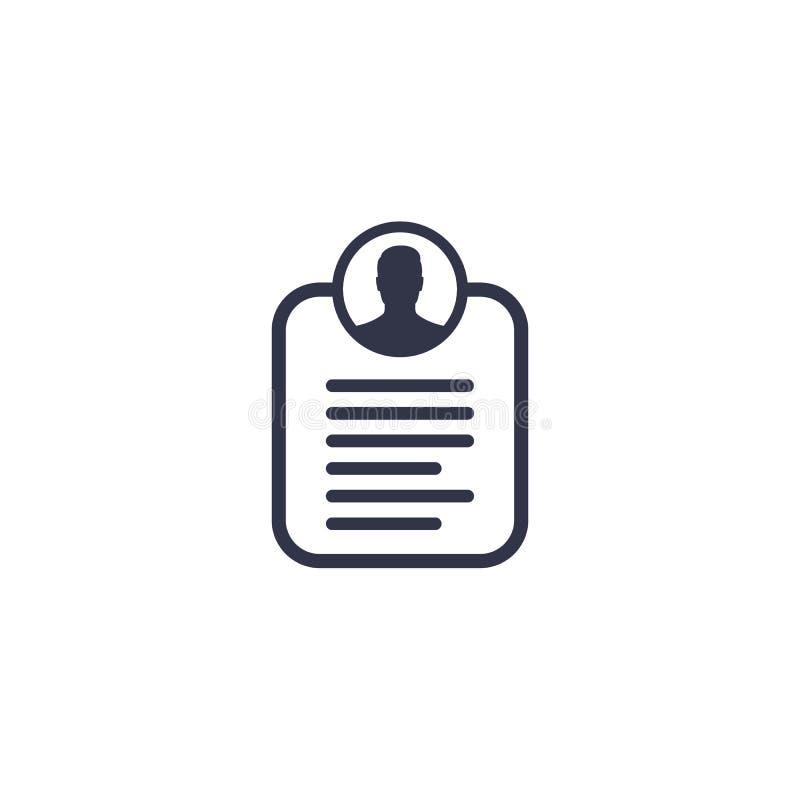Informação de conta, ícone pessoal dos dados ilustração do vetor