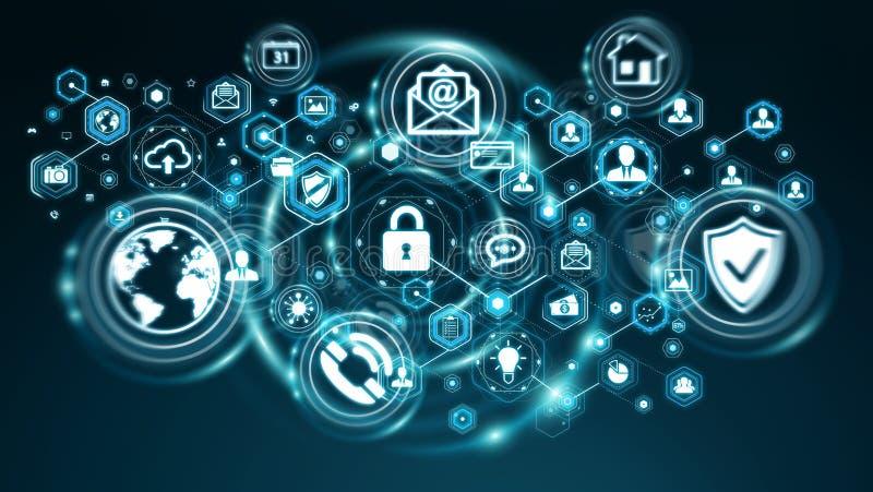 Informação de dados pessoal protegida pela rendição do software 3D ilustração do vetor
