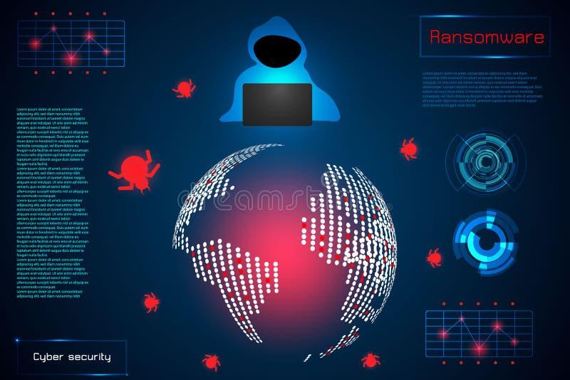 Informação do conceito da tecnologia do sumário de Infographic de ransomwar ilustração stock