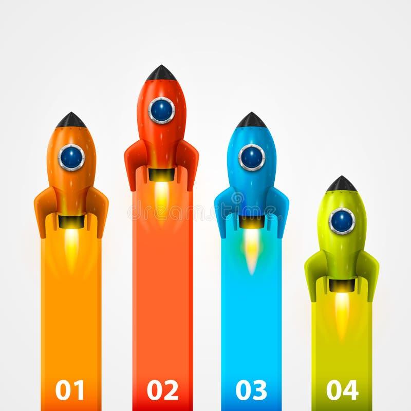 Informação do lançamento do foguete de espaço ilustração stock