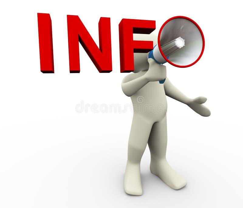 informação do megafone do homem 3d ilustração do vetor