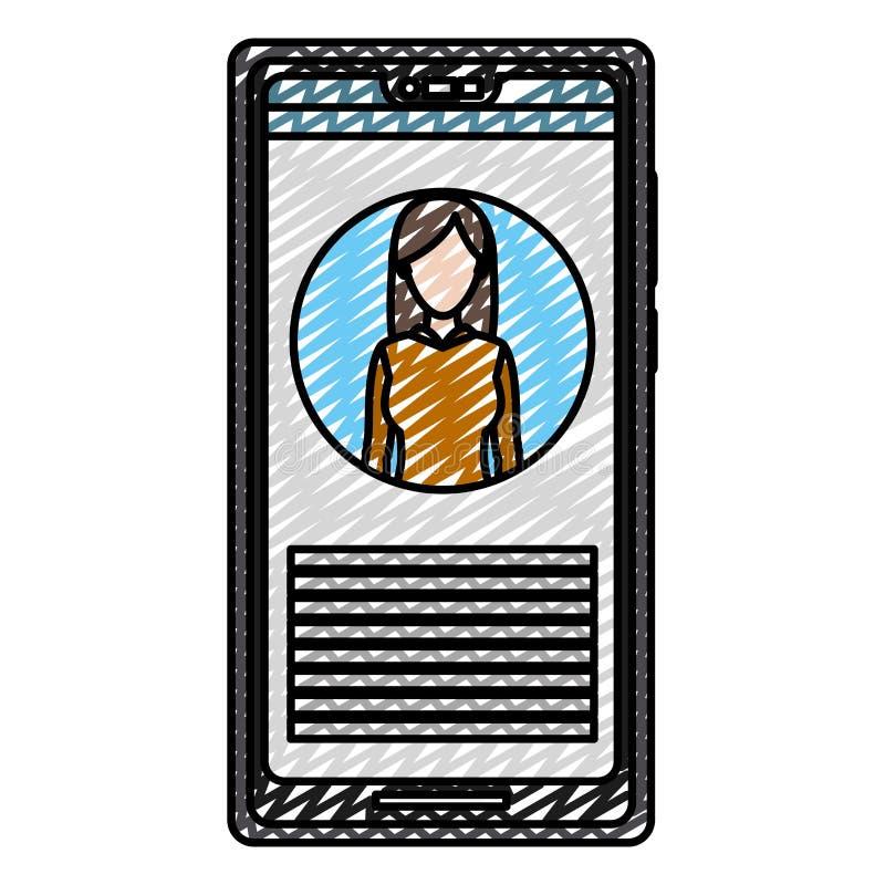 Informação do repórter da mulher da notícia do smartphone da garatuja ilustração do vetor