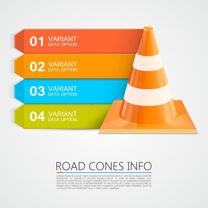 Informação dos cones da estrada, números de informação dos cones ilustração stock