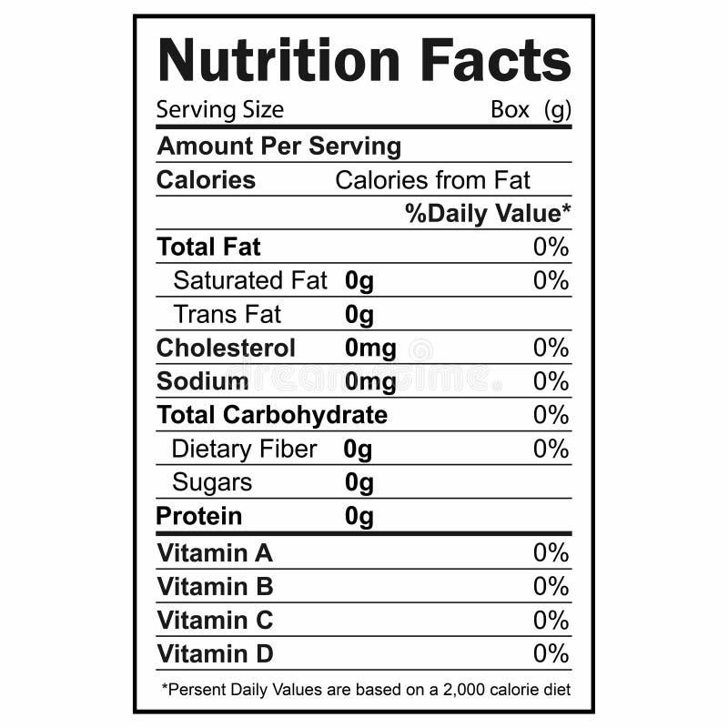Informação dos fatos da nutrição Informação sobre a quantidade de gorduras, calorias, hidratos de carbono ilustração stock