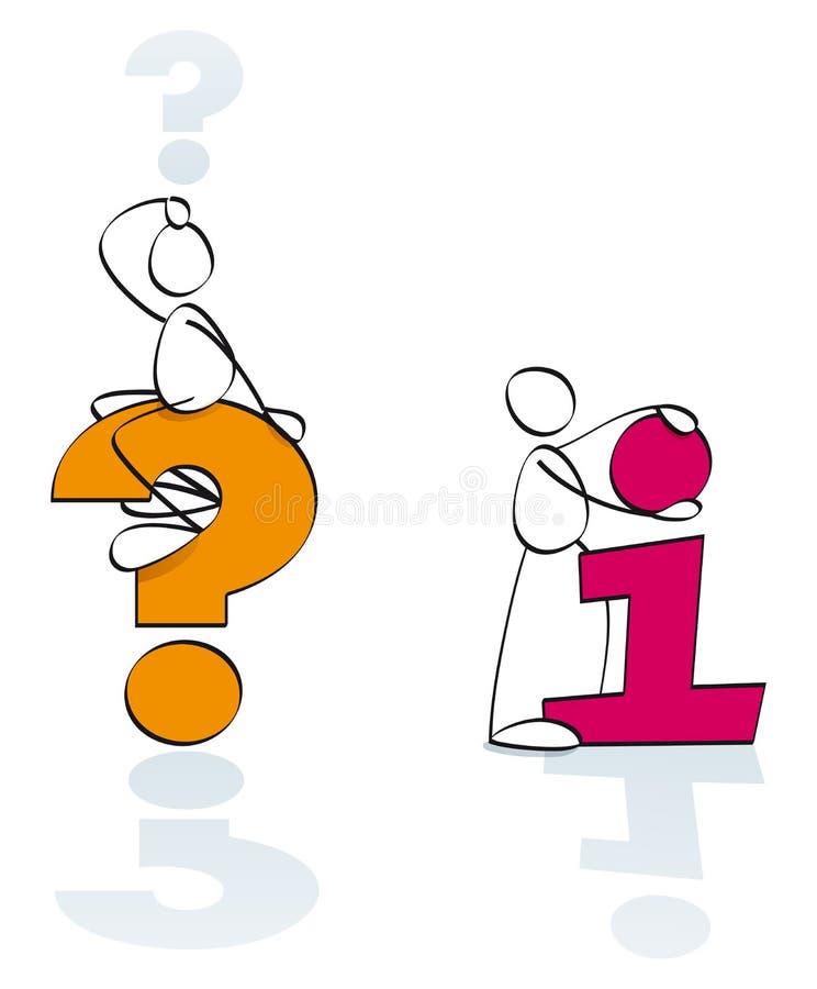 Informação dos símbolos e perguntas engraçadas ilustração stock