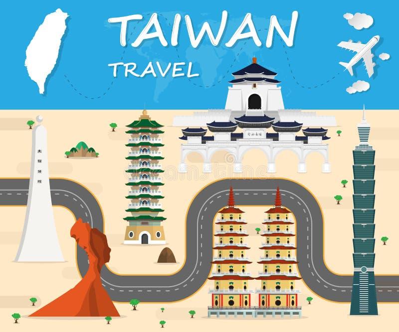 Informação global do curso e da viagem do marco do fundo do curso de Taiwan ilustração do vetor