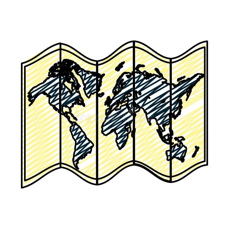 Informação global do objeto do mapa da geografia da garatuja ilustração royalty free