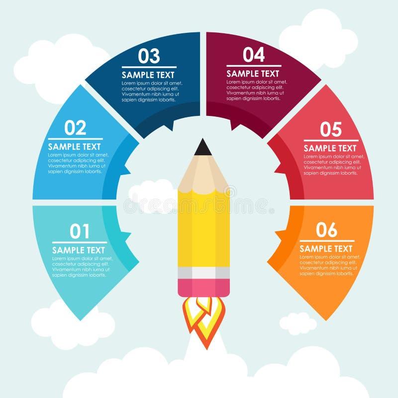 Informação-gráfico do foguete do lápis ilustração do vetor