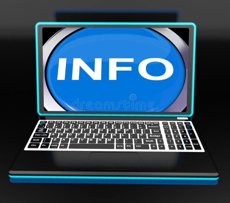 A informação no portátil significa a informação e o Assistan do conhecimento do computador ilustração do vetor