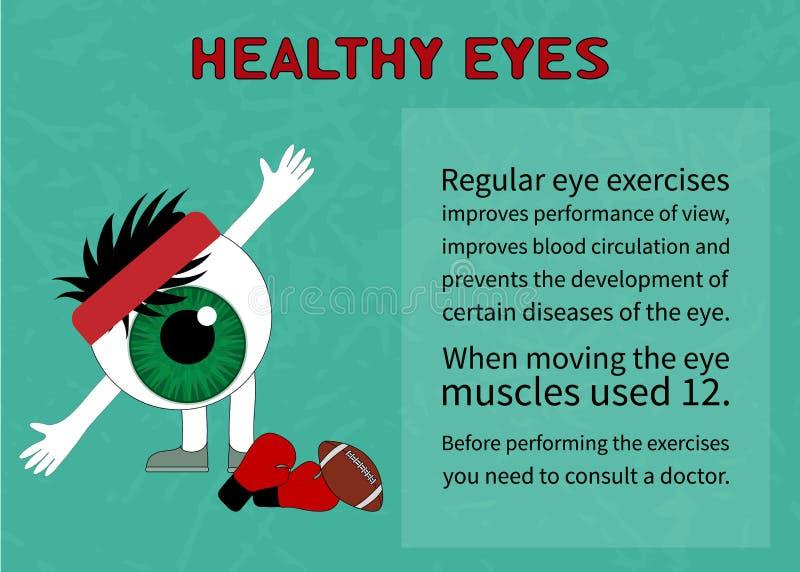 Informação sobre benefícios da ginástica para os olhos saudáveis ilustração royalty free