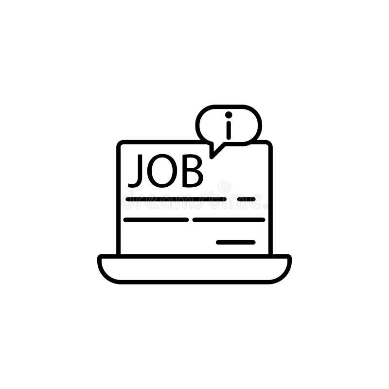 informação sobre o trabalho em um portátil Elemento do ícone da entrevista de trabalho para apps móveis do conceito e da Web Linh ilustração royalty free