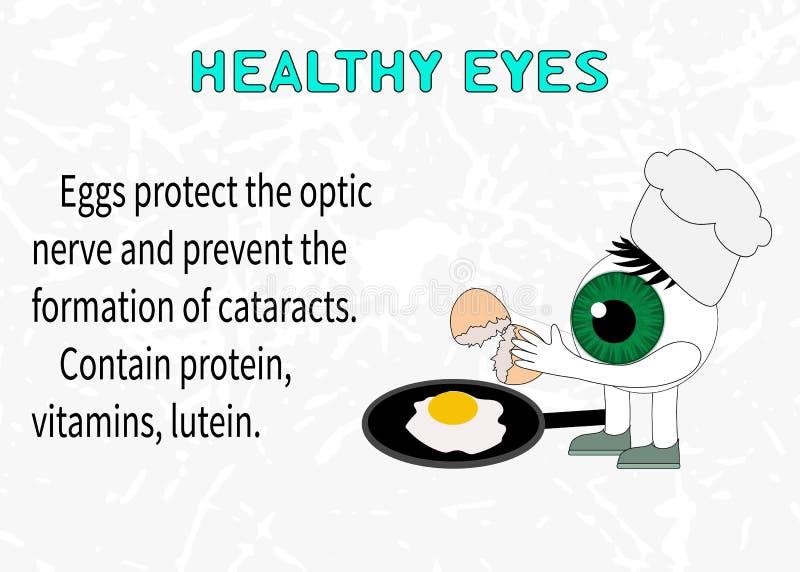 Informação sobre os benefícios dos ovos para a visão ilustração do vetor