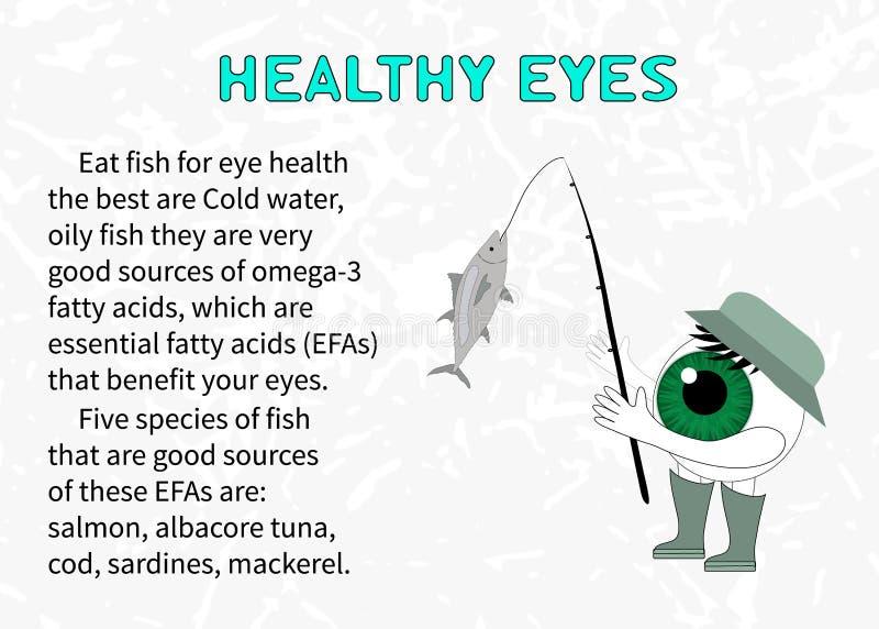 Informação sobre os benefícios dos peixes para a visão ilustração do vetor