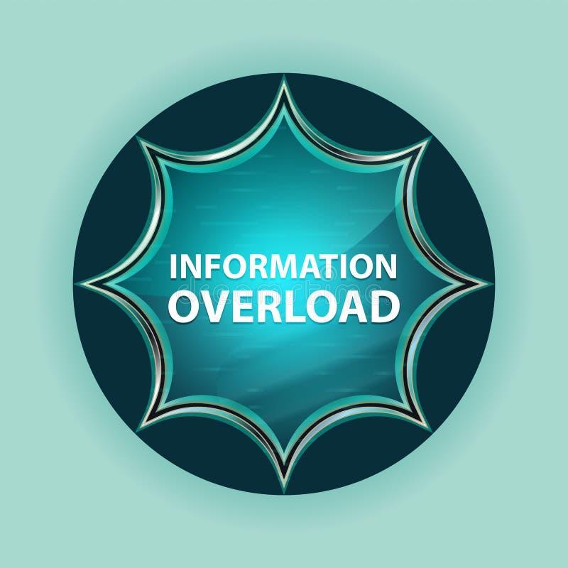 A informação sobrecarrega o fundo azul sunburst vítreo mágico dos azul-céu do botão ilustração stock
