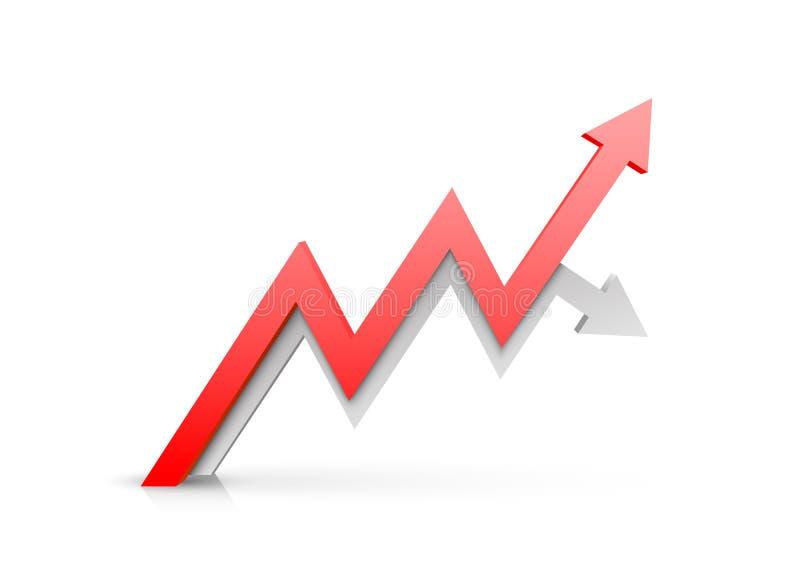 Informação vermelha da arte do crescimento do negócio da seta Vetor ilustração royalty free