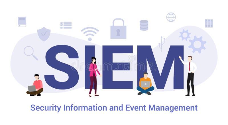 Informações de segurança simples e conceito de gerenciamento de eventos com palavras grandes ou texto e pessoas de equipe com est ilustração do vetor