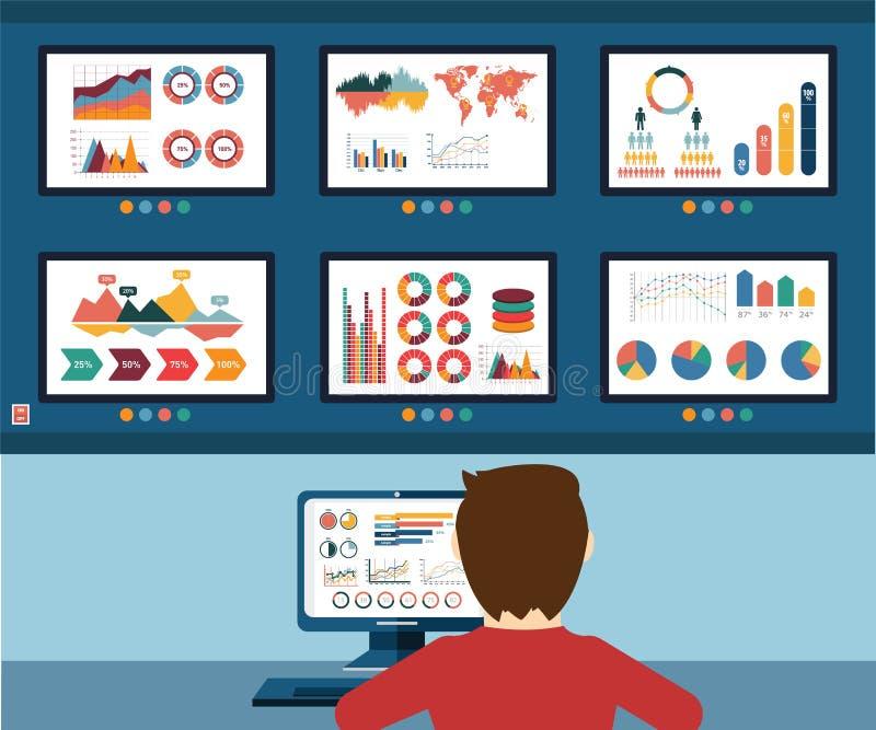 Información analítica, gráfico de la información y estadística del sitio web del desarrollo stock de ilustración