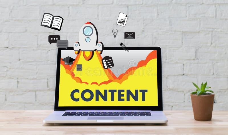 Información Blogging VI de la publicación de los datos CONTENTOS del márketing medios fotos de archivo libres de regalías
