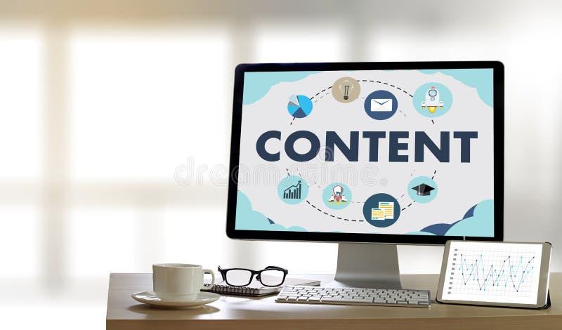 Información Blogging VI de la publicación de los datos CONTENTOS del márketing medios fotografía de archivo libre de regalías