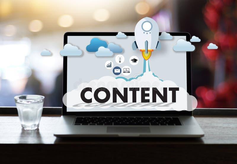 Información Blogging VI de la publicación de los datos CONTENTOS del márketing medios fotos de archivo