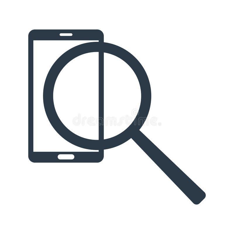 Información de la búsqueda en teléfono Icono de la lupa y del teléfono Ilustración del vector aislada en el fondo blanco libre illustration