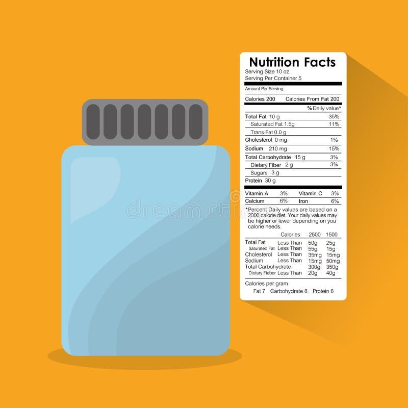 Información de la etiqueta engomada de los hechos de la nutrición del cristal de botellas libre illustration