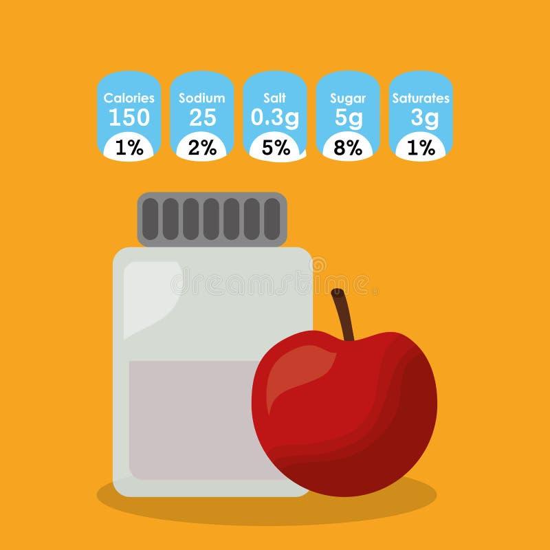 Información de la etiqueta engomada de los hechos de la nutrición de la fruta de la manzana del cristal de botellas libre illustration