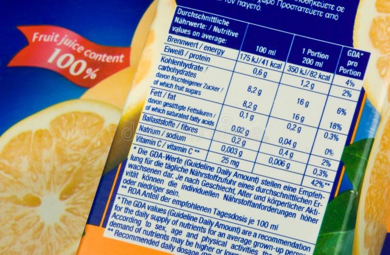 Información de la nutrición imagenes de archivo