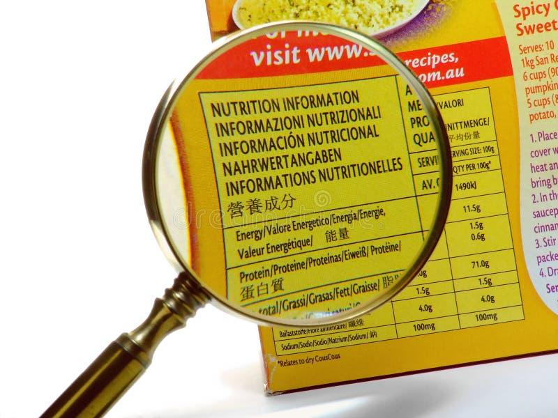Información de la nutrición imagen de archivo libre de regalías