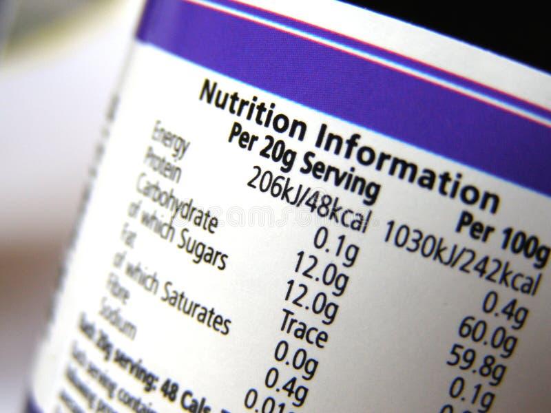 Información de la nutrición sobre escritura de la etiqueta imagenes de archivo