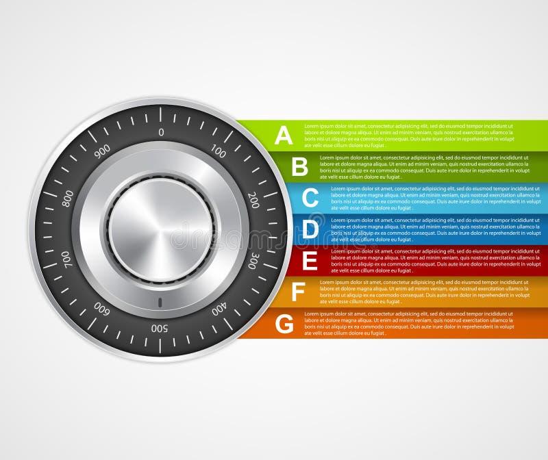 Información de la protección Infographics seguro del concepto de diseño de la cerradura de la combinación ilustración del vector