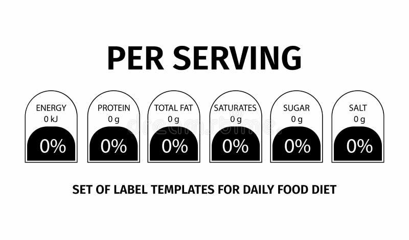 Información de los hechos de la nutrición Plantilla para la información sobre la cantidad de grasas, calorías, carbohidratos libre illustration