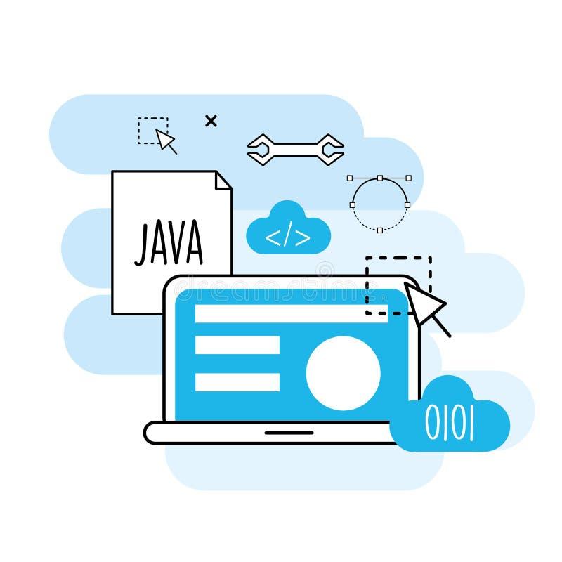 Información de proceso del sitio web a la tecnología programada libre illustration