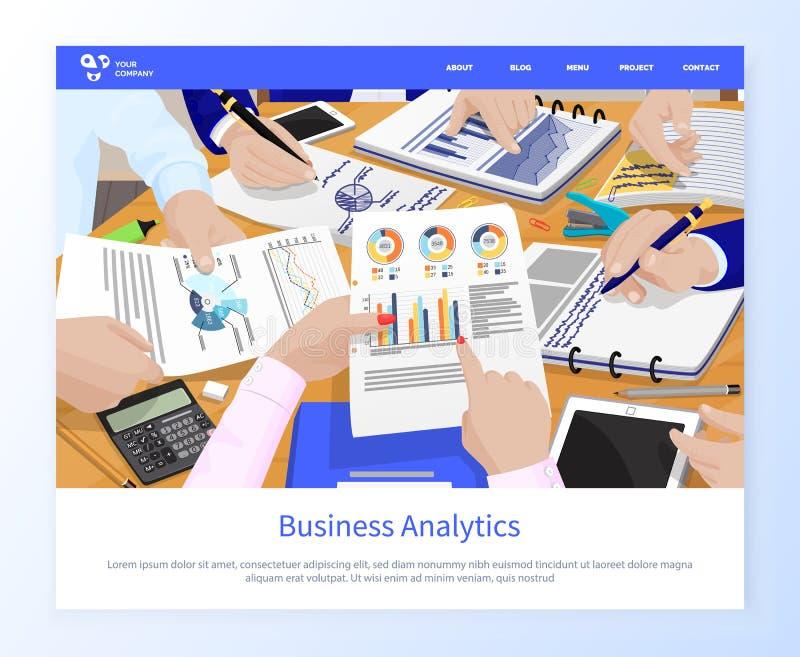 Información del Analytics del negocio sobre conferencia de las páginas stock de ilustración