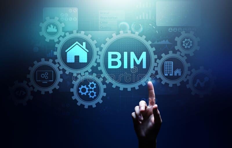Información del edificio de BIM que modela concepto de la tecnología en la pantalla virtual ilustración del vector